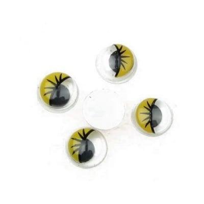Очички мърдащи 10 мм с мигли жълти -50 броя