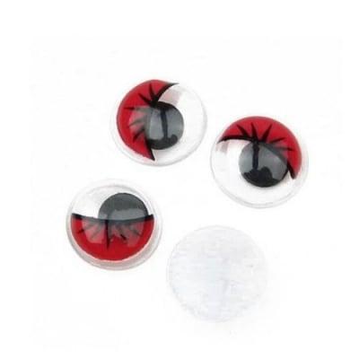 Очички мърдащи 10 мм с мигли червени -50 броя