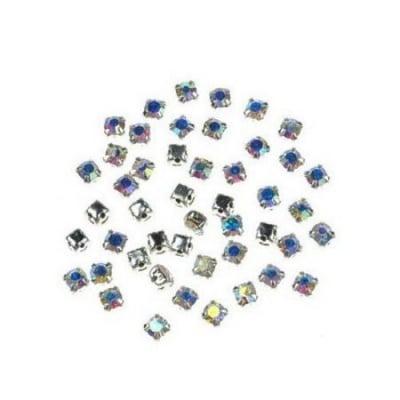 Камък за пришиване с метална основа 3x3 мм дупка 1 мм екстра качество ДЪГА - 20 броя