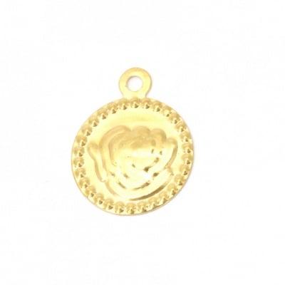 Паричка метал роза 15 мм злато с халка -50 броя