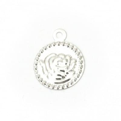 Паричка метал роза 15 мм сребро с халка -50 броя