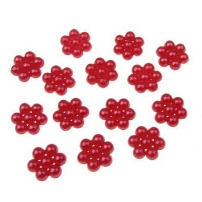 Перла полусфера цвете 8х9х3 мм шест листа червена -50 броя
