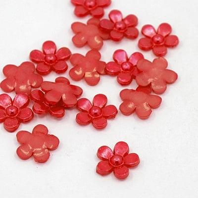 Акрилен камък за лепене цвете 11х2 мм червен -50 броя