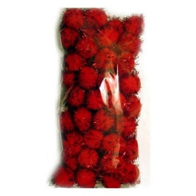 Помпони с ламе 20 мм червени -50 броя