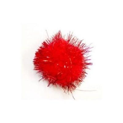 Помпони с ламе 35 мм червени -10 броя