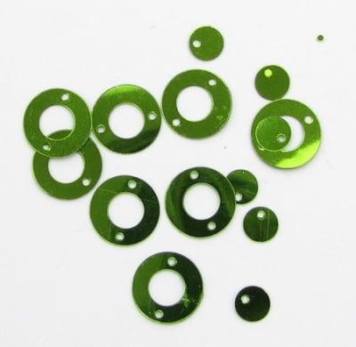 Пайети кръг с кръгче 12х6 мм зелени -20 грама
