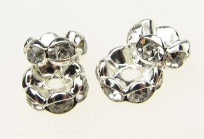 Шайба метал с кристали зиг заг 8x3.5 мм дупка 1.5 мм (качество А) цвят сребро -10 броя