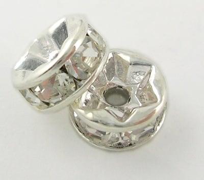Шайба метал с кристали 7x3.2 мм дупка 1.2 мм (качество А) цвят бял -10 броя