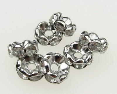 Шайба метал с кристали 7x3.2 мм дупка 1.5 мм (качество А) цвят сребро -10 броя