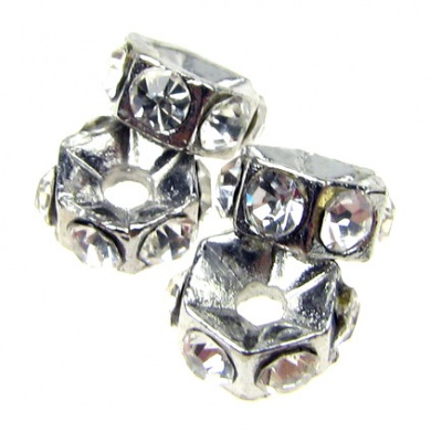 Шайба метал с кристали 5.5x3 мм отвор 1.2 мм цвят сребро -4 броя