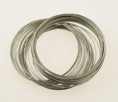 Тел за гривни 60x0.8 мм цвят сребро -50 навивки ~39 грама