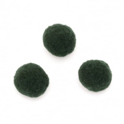 Помпони 25 мм зелени тъмно -20 броя