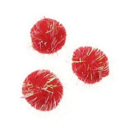 Помпони с ламе дъга 25 мм червени -50 броя