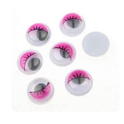 Очички мърдащи 10 мм с мигли розови -50 броя