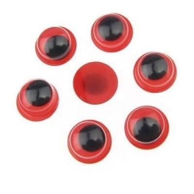 Очички мърдащи червена основа 8 мм -50 броя