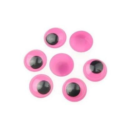 Очички мърдащи розова основа 12 мм -50 броя