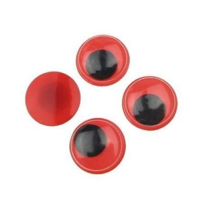 Очички мърдащи червена основа 15 мм -50 броя