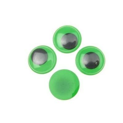 Очички мърдащи зелена основа 15 мм -50 броя