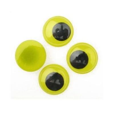 Очички мърдащи жълта основа 20 мм -20 броя