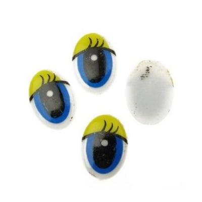 Очички рисувани 16x22 мм сини с мигли жълти -20 броя