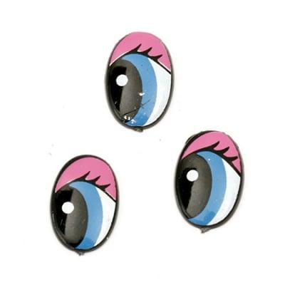 Очички рисувани 18x12x2 мм сини с мигли розови -10 броя