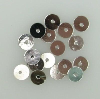 Пайети обли плоски 6 мм сребро - 20 грама