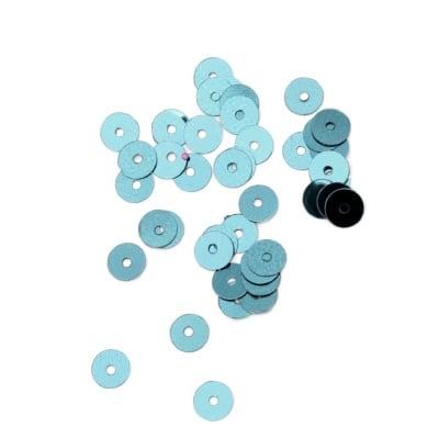 Пайети обли плоски 6 мм сини - 20 грама