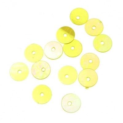 Пайети обли плоски 6 мм жълти дъга - 20 грама
