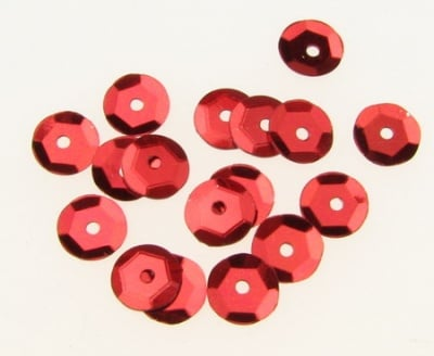 Пайети обли 6 мм червени - 20 грама