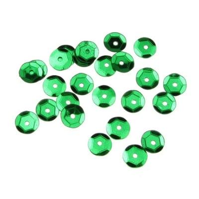 Пайети обли 6 мм зелени тъмно - 20 грама