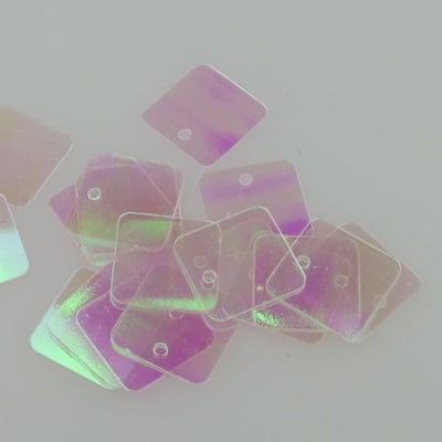 Пайети квадрат 12.5 мм прозрачни дъга - 20 грама