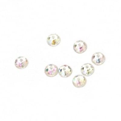 Камък акрил за пришиване 4 мм кръг бял прозрачен дъга фасетиран -100 броя