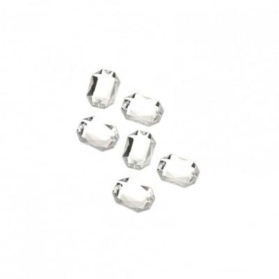 Камък акрил за пришиване 6x8 мм фигура бял прозрачен фасетиран -50 броя
