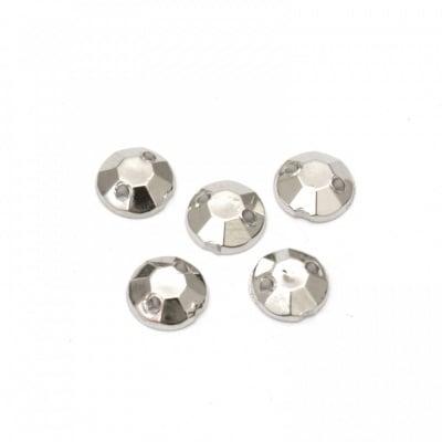 Камък акрил за пришиване 6 мм кръг фасетиран цвят сребро -50 броя