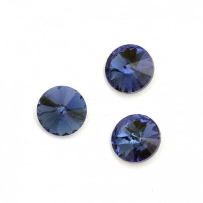 Камък акрил за вграждане 14x7 мм кръг син фасетиран -10 броя