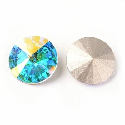 Камък кристал за вграждане екстра качество 14x7 мм кръг синя дъга фасетиран -1 брой