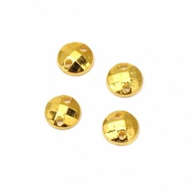 Камък акрил за пришиване 6 мм кръг фасетиран цвят злато -50 броя