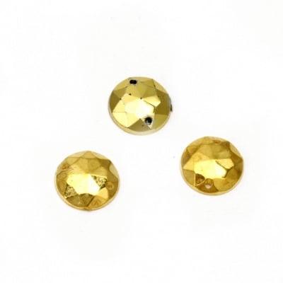 Камък акрил за пришиване 10 мм кръг фасетиран цвят злато -50 броя