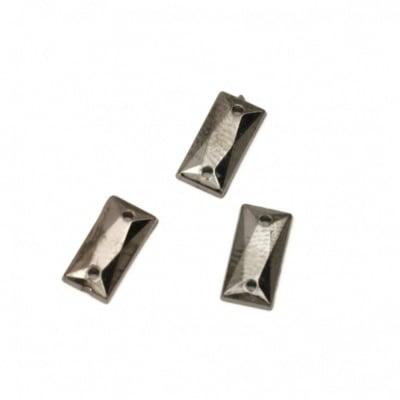 Камък акрил за пришиване 5x2x10 мм правоъгълник цвят графит -50 броя