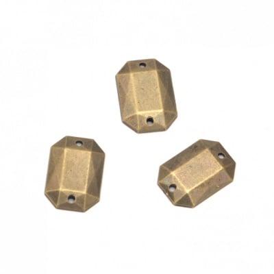 Камък акрил за пришиване 10x14 мм фигура фасетиран цвят антик бронз -25 броя