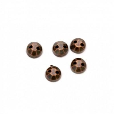 Камък акрил за пришиване 5 мм кръг фасетиран цвят антик мед -100 броя