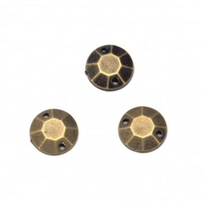 Камък акрил за пришиване 10 мм кръг фасетиран цвят антик бронз -50 броя