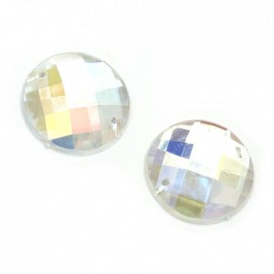 Камък акрил за пришиване 25 мм кръг бял прозрачен дъга фасетиран -5 броя