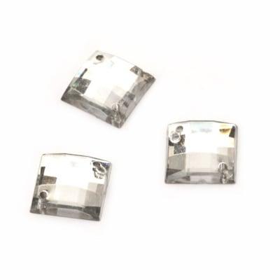 Камък акрил за пришиване 12x12 мм квадрат прозрачен фасетиран - 10 броя