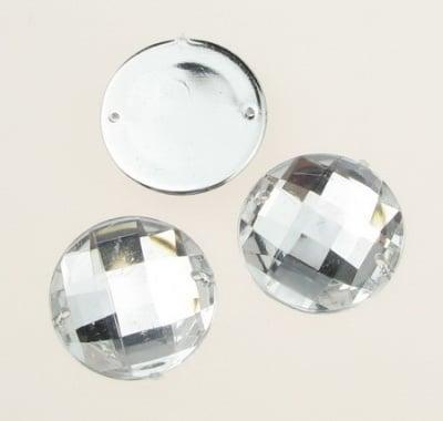 Камък акрил за пришиване 25 мм кръг бял прозрачен фасетиран екстра качество -5 броя