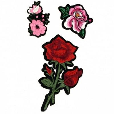 Апликации лепящи 3 броя 35~115 мм цветя