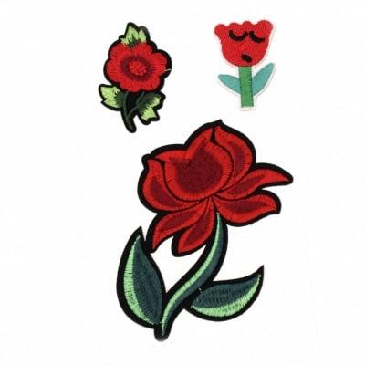 Апликации лепящи 3 броя 30~110 мм цветя