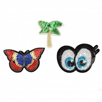 Апликации лепящи 3 броя 55~60 мм палма пеперуда очички с пайети