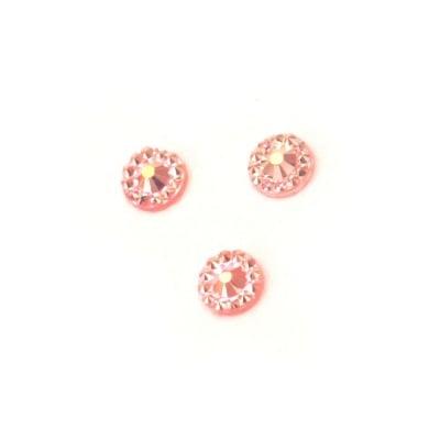 Камък акрил за лепене 5 мм кръг розов дъга фасетиран -100 броя