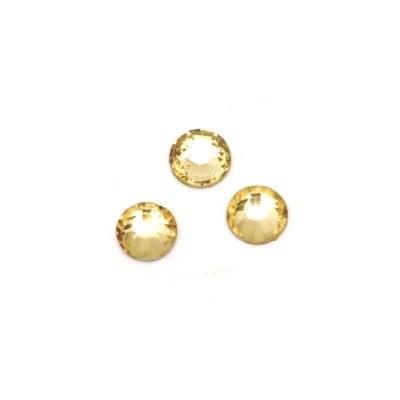 Камък акрил за лепене 6 мм кръг жълт опушен прозрачен фасетиран -50 броя